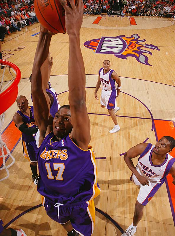 Andrew Bynum goes in for a dunk here, but the Lakers scored only 10 fourth-quarter points in fading at Phoenix.