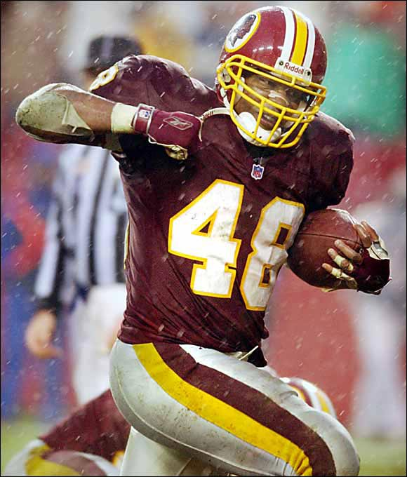 Davis didn't get a chance to work out at the combine because of a knee injury, which explains how he fell to the fourth round. His breakout season came in 1999, when he led the NFC with 1,045 yards. In 2001 he set Washington's single-season record for rushing yards (1,432). Davis went to Carolina in '03, set a personal-best mark with 1,444 yards rushing and helped the Panthers reach the Super Bowl.