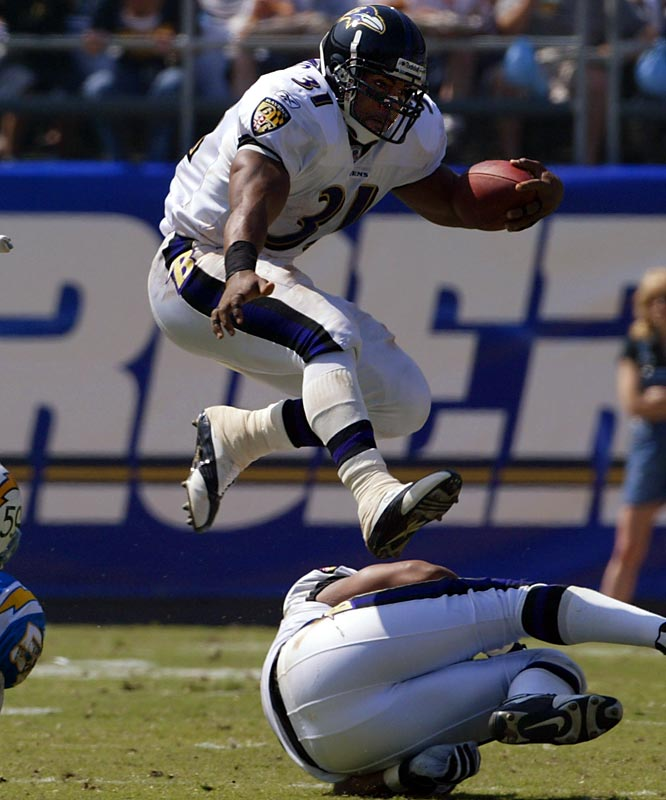 Pre-Draft: Implicated in a federal drug sting in 2004, but charges stemmed from involvement prior to 2000 NFL draft. <br><br>Post-Draft: Set NFL single-season rushing record with 2066 yards in 2003.