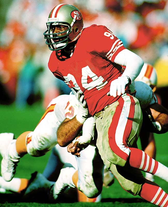 The Niners didn't make his first pick until No. 39 overall, when they grabbed DE Larry Roberts. They then landed FB Tom Rathman, DB Tim McKyer, WR John Taylor, DE Charles Haley, OT Steve Wallace, DT Kevin Fagan and DB Don Griffin. This group helped the Niners cement their status as the team of the 1980s.