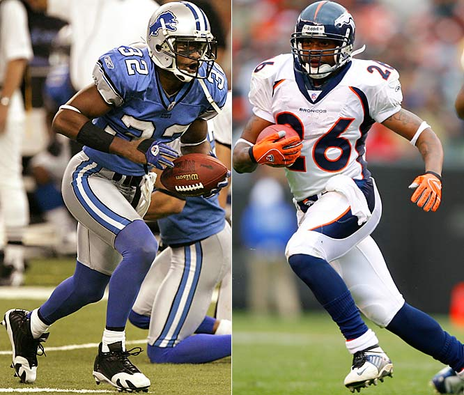 The Lions traded their Pro Bowl cornerback to the Broncos for running back Bell (right), offensive tackle Foster and a fifth-round pick. Bly (left) is one of the NFL's best cover corners, but he didn't fit into the Lions' Cover Two scheme. And the Broncos are confident they can keep their vaunted running game going without Bell and Foster.
