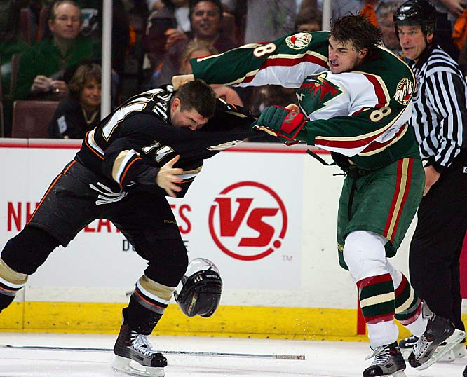 Wild defenseman Brent Burns faired well against the Ducks' Chris Kunitz in his first NHL fight.