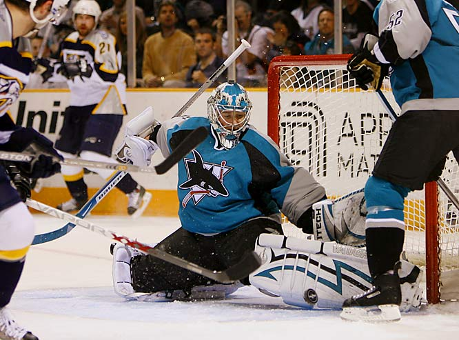 Goalie Evgeni Nabokov made 23 saves in the Sharks victory over the Preds. Nabokov has allowed three goals over the last two games after allowing four in each of his first two starts.
