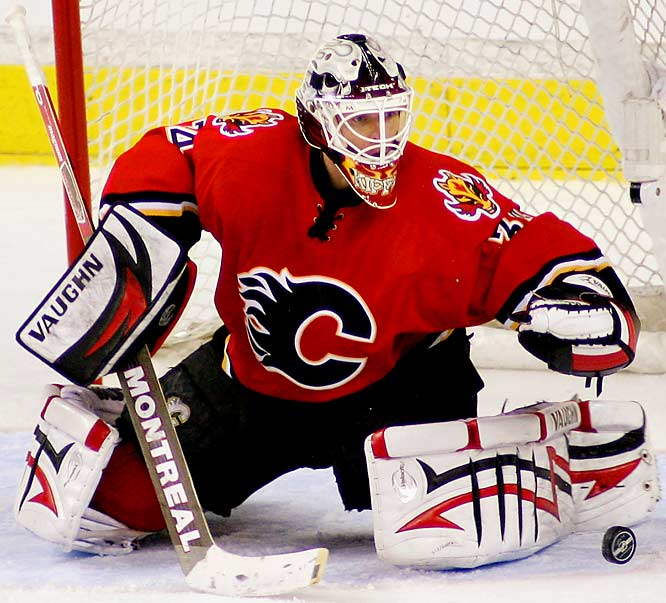 Miikka Kiprusoff made 53 saves in the Flames' loss on Sunday.  Kiprusoff faced twice as many shots in the series as opposing netminder Dominik Hasek.