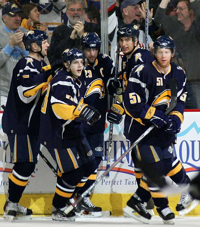 (Left to right) Tim Connolly, Daniel Briere, Chris Drury, Dainius Zubrus and Brian Campbell celebrate Drury's second period goal against the Islanders.  Drury and Campbell scored two each in the victory.
