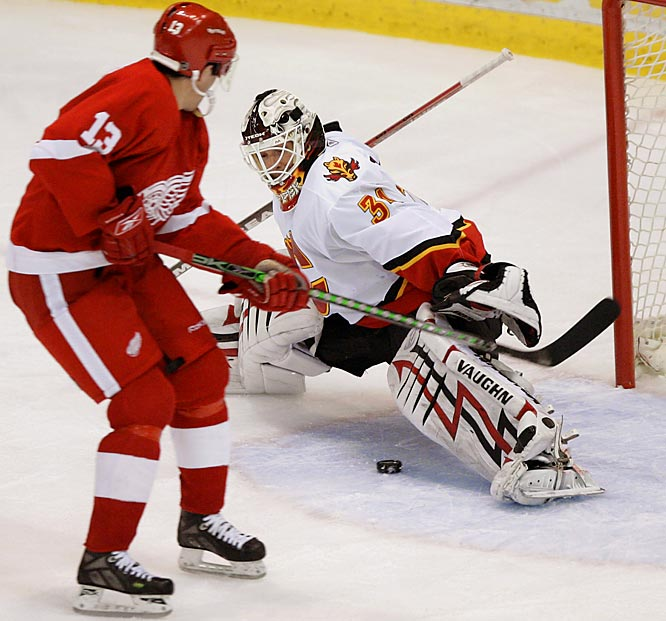 Red Wings center Pavel Datsyuk shoots past Miikka Kiprusoff for a goal in the second period.  Datsyuk hadn't scored in his last 26 playoff appearances with Detroit.