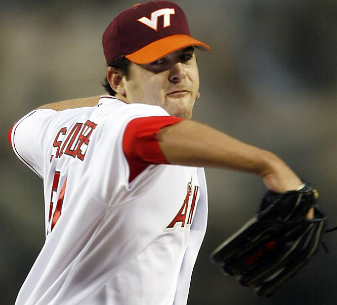 Los Angeles Angels pitcher Joe Saunders is a graduate of Virginia Tech and donned a Hokies hat in his first start after the tragedy.