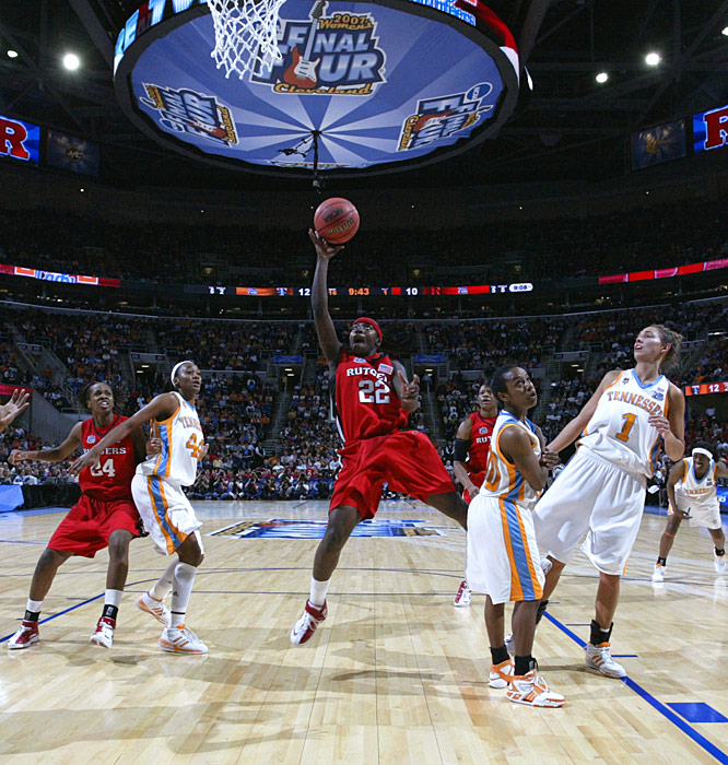 Rutgers' Matee Ajavon drives the lane for two of her eight points.