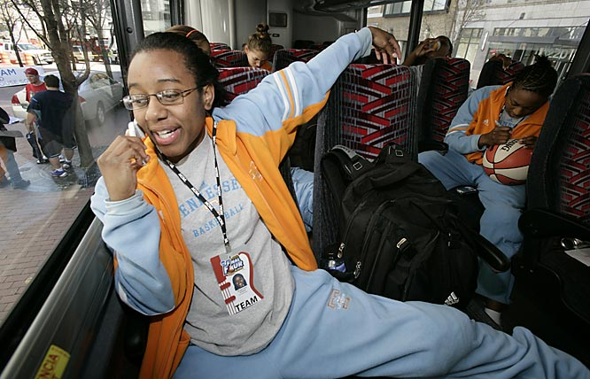 Shannon Bobbitt, on the team bus, heads to the arena for practice.