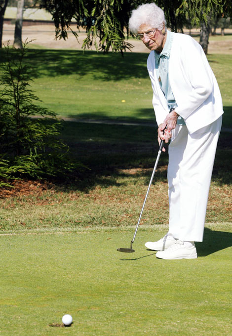 Last Thursday, Elsie Mclean, at age 102, became the oldest person to make a hole-in-one. Take that, Tiger!