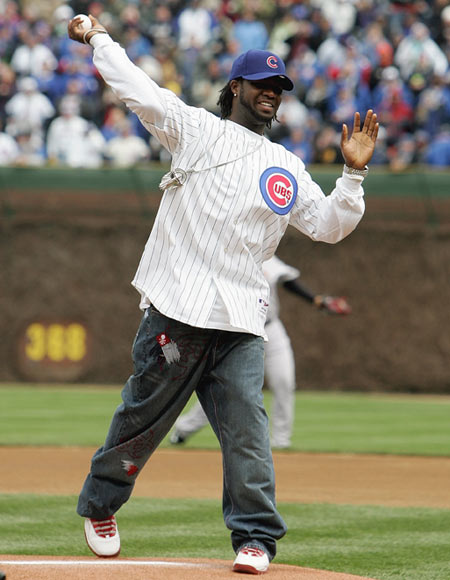 Bears punt and kick returner Devin Hester threw out the first pitch at a Cubs game earlier this week. Since the Cubs don't mind throwing cash around, we suggest they sign him up to be a pinch runner until the NFL season starts.