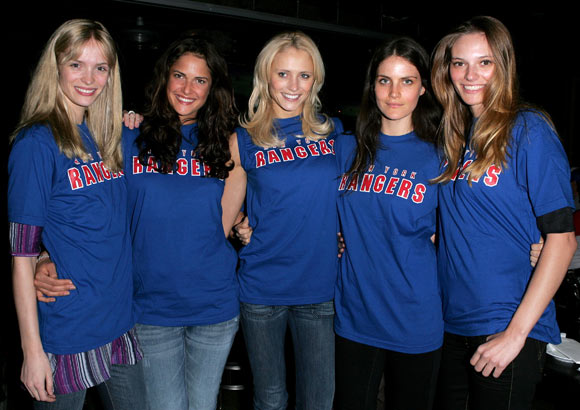 "New York Rangers fans who watched the team's playoff game at a Midtown bar on Thursday were joined by The ""Blueshirt Beauties."""