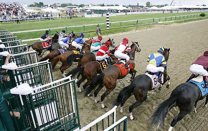 Nine 3-year-old horses ran in the 132nd Preakness Stakes, compared to 20 at the Kentucky Derby earlier in the month. Curlin (fourth from left) started slow due to a slight stumble out of the gates.