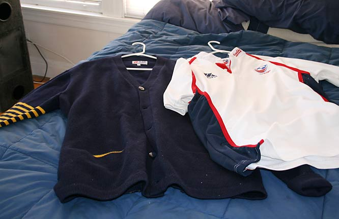 Here is some of Kevin's key rugby apparel: his jersey from when he played on the U.S. Under-19 squad that traveled to South Africa, and his official Cal Rugby lettermen's sweater.