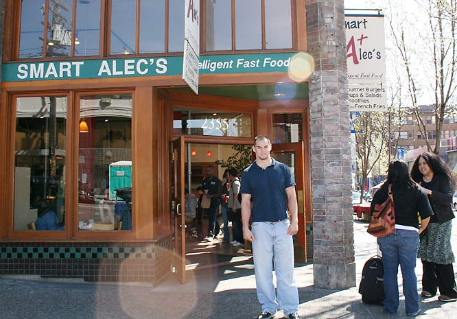 Kevin gets ready to head to Smart Alec's -- a good fit for this brainy rugger - on Telegraph for some lunch. Smart Alec's is renowned among Cal students for their burgers, sandwiches, and low-fat-yet-tasty French fries.