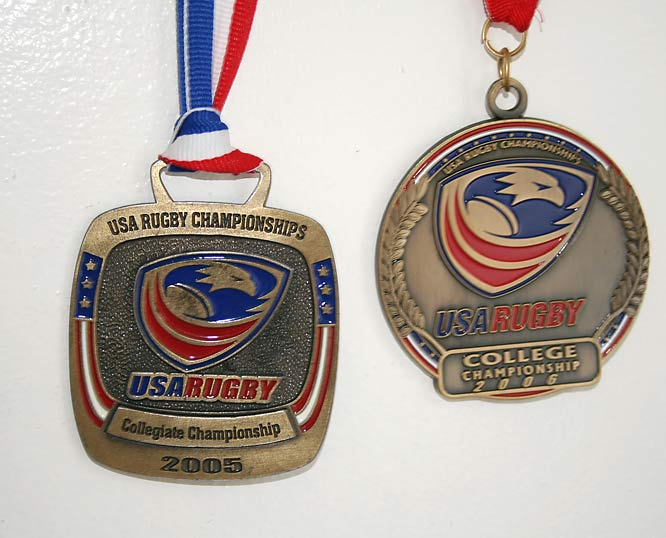 Kevin has his two medals from the USA Rugby Collegiate Championship displayed prominently on his wall. This year he'll try to go three-for-three.