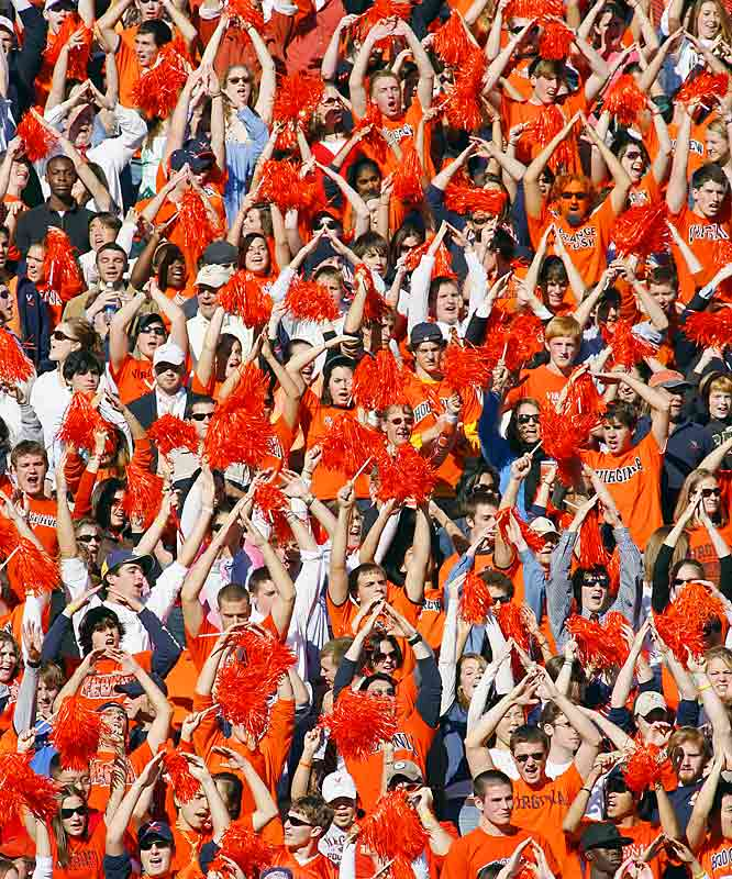 Scott Stadium fans showed their excitement before a game against Maryland last October ...