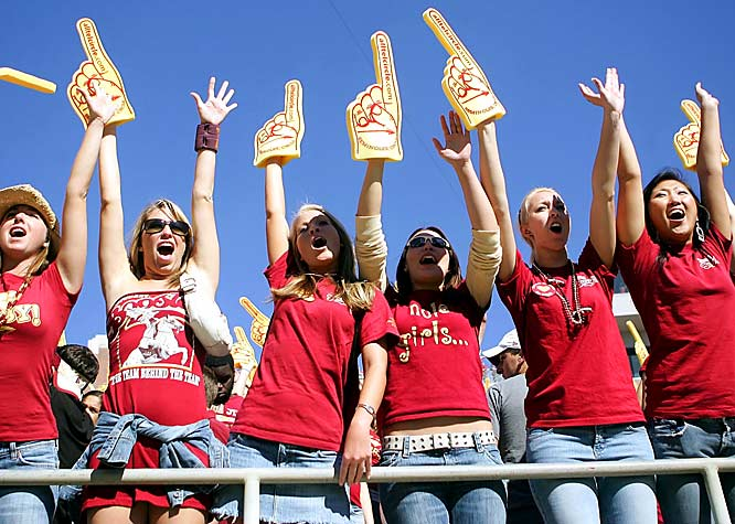 Nole girls show their hands during a game against Florida last November.