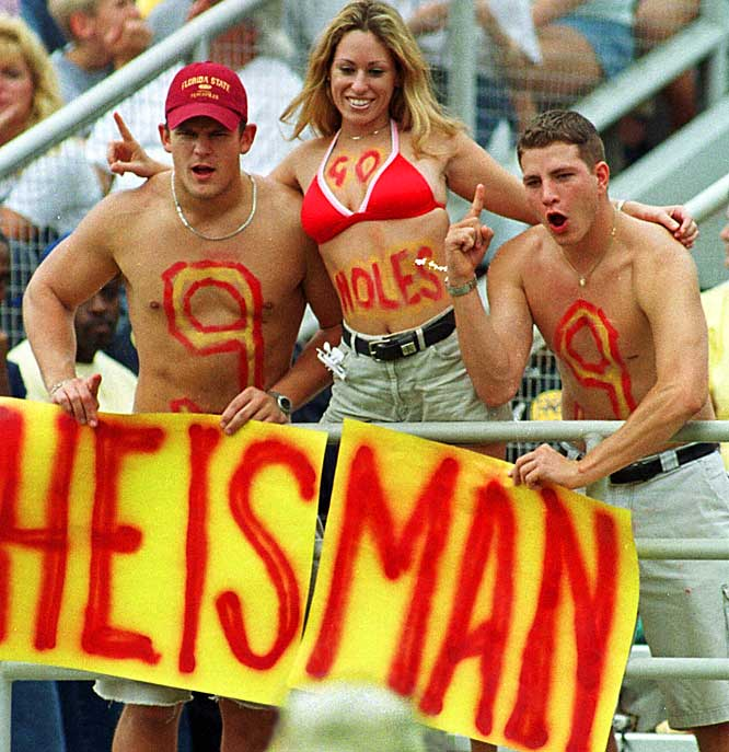 "FSU fans make their ""Peter Warrick for Heisman"" pitch during a 1999 games against NC State."