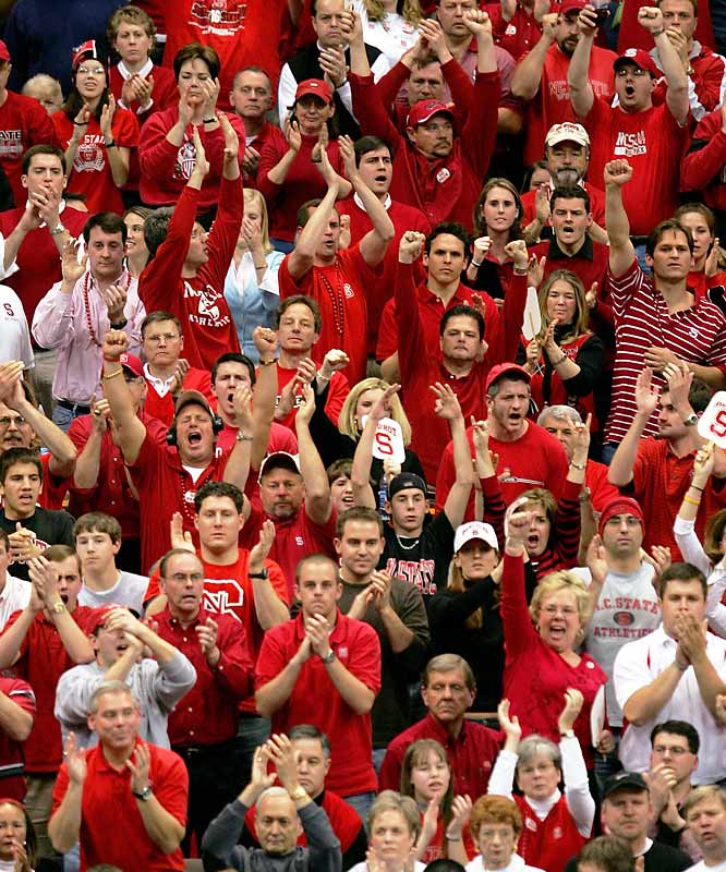 State fans cheered during the Wolfpack's March 2005 regional semifinal game against Wisconsin at the Carrier Dome in Syracuse.