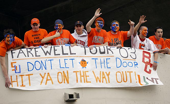 Syracuse fans let their banner do the talking during an October 2003 game against Boston College.