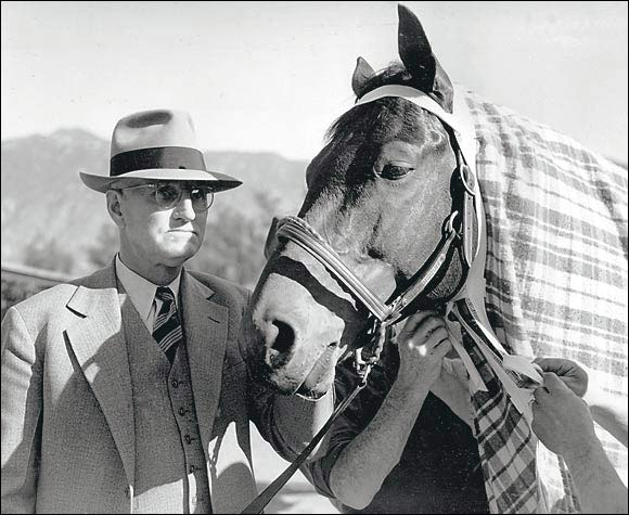 The wildly popular Depression-era champion and 1938 Horse of the Year damaged a ligament in his left leg early in 1939 and was thought to be finished with racing. But Seabiscuit made a remarkable recovery and was able to race again by the beginning of 1940. By his third comeback race, he had returned to his winning ways; Seabiscuit equalled the track record as he won the Santa Anita Handicap.