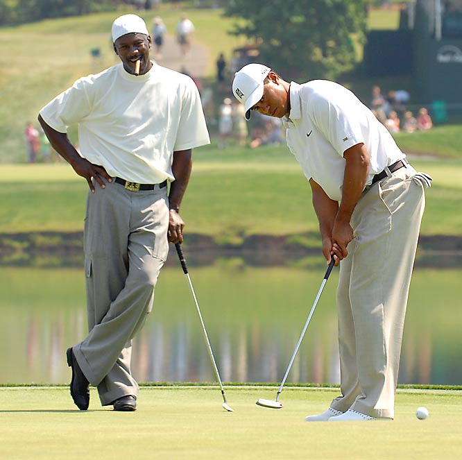 """M.J.: """"Yeah, it is kinda crazy to have all this money."""" Tiger: """"Tell me about it."""""""
