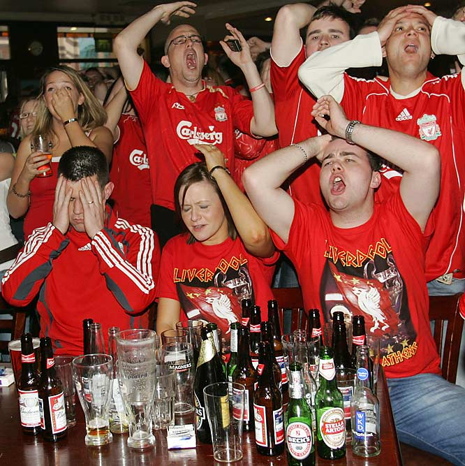 We're gonna go out on a limb and say that British soccer fans like their beer.