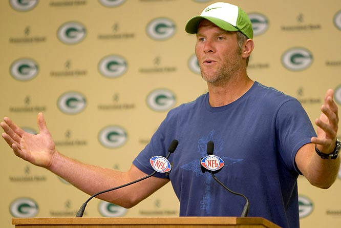 Brett Favre addressed the media at Lambeau Field. Here's to guessing he's not in the middle of a fish tale.