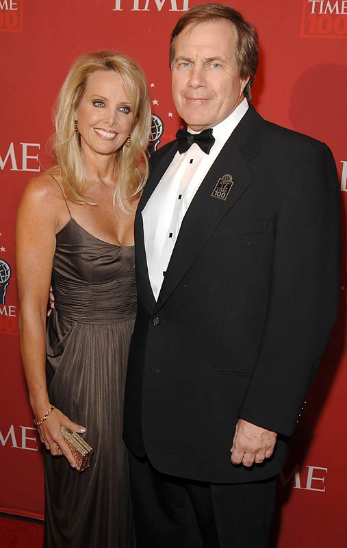 Bill Belichick and a date went to Time Magazine's 100 Most Influential People event. There must not be a sweatshirt version of those fake tuxedo shirts.