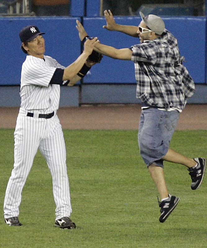 With the Yankees struggling, left fielder Hideki Matsui is in no mood for high fives.
