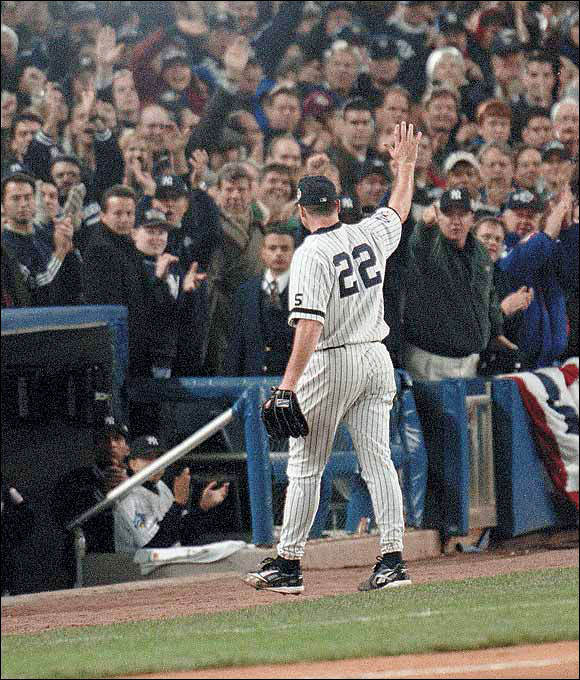 Clemens' first season with the Yankees culminated in his beating the Braves in the 1999 World Series clincher.