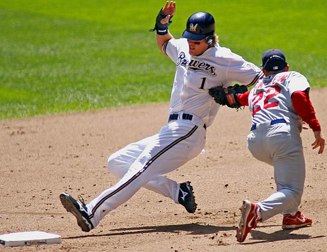 Corey Hart is called safe as Cardinals shortstop David Eckstein applies the tag in the fourth inning on May 2.  The Brewers won the game 4-0.