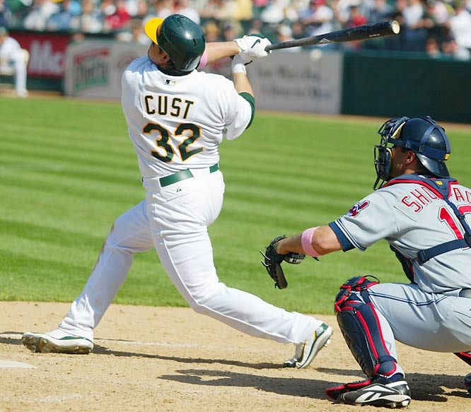 Jack Cust hits a walk-off three-run homer for the A's on Sunday, beating the Indians 10-7. Cust hit six home runs in the first seven games he played for Oakland.
