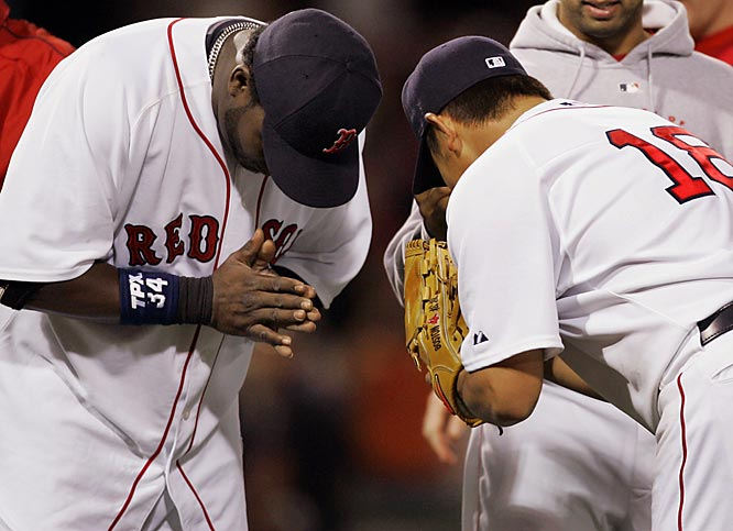 David Ortiz bows to Daisuke Matsuzaka after Dice-K's 7-1 complete-game victory over the Tigers on May 14.  At week's end, Matsuzaka was 5-0 over his last six starts.