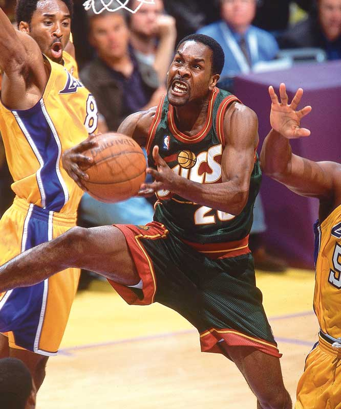Payton, the best defensive point guard in league history, not only used his quick hands to relieve opposing point guards of the ball, but he also would batter them in the low post on the other end of the court. Payton, in a class by himself as a trash talker, always managed to back up his words. He was named to the NBA All-Defensive first team for nine straight seasons.