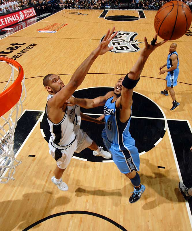 Although Carlos Boozer had 15 rebounds and 33 points for the Jazz, Tim Duncan and the San Antonio Spurs never lost the lead to Utah, and haven't since the seventh minute of the opener.