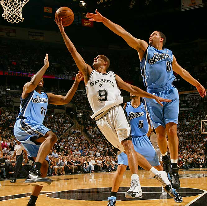 The Spurs' Tony Parker, pictured, and Tim Duncan led a 14-0 surge over a 2:13 span late in the first quarter. Parker posted 21 points with five assists and five rebounds.