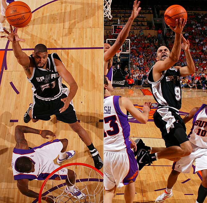 Tim Duncan had 33 points and 16 rebounds, and Tony Parker added 32 points to lead the Spurs past the Suns.