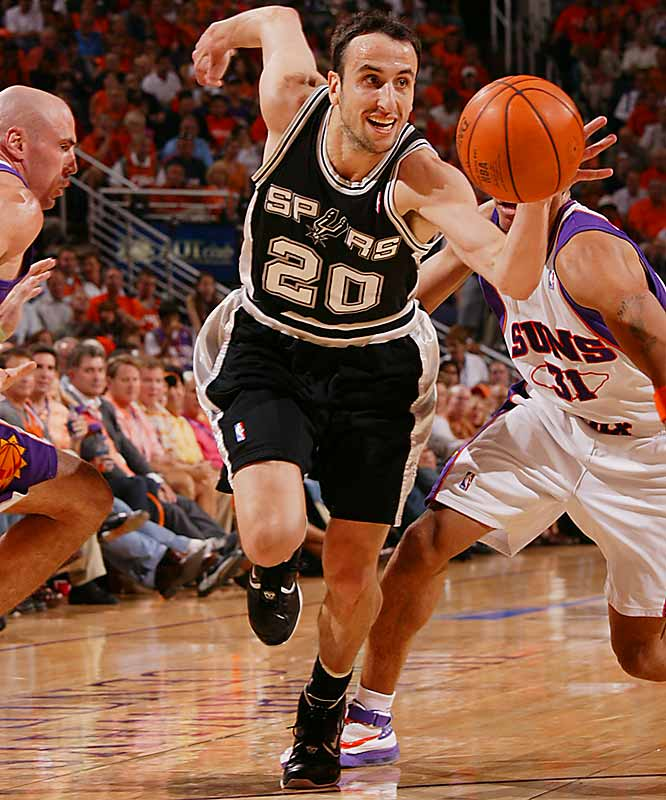 Manu Ginobili scored 15 of his 26 points in the final quarter to rally the Spurs, sinking two free throws to put San Antonio ahead 86-83 with 10.5 seconds to go.
