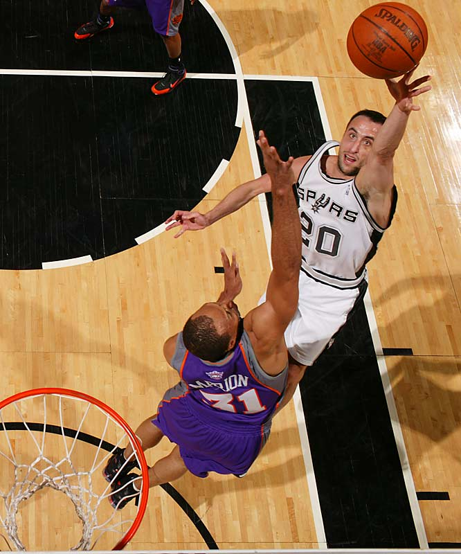 Manu Ginobili came up big for the Spurs again, racking up 33 points, 11 rebounds, six assists and four steals to close out San Antonio's series with the Phoenix Suns.