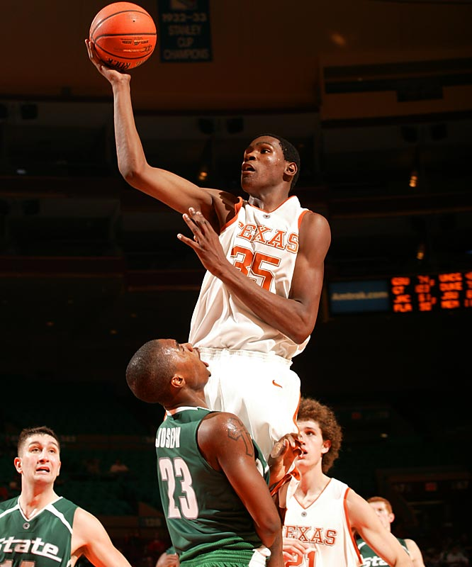 The first freshman to be named player of the year, Durant averaged 25.8 points and 11.1 rebounds for the Longhorns.