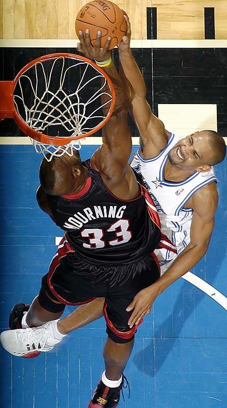 The 37-year-old was the runaway leader in blocks per 48 minutes (5.44), and his per-game mark of 2.31 was sixth, though he averaged only 20.4 minutes. Mourning won Defensive Player of the Year awards in 1999 and 2000.