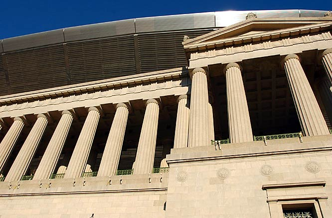 The new Soldier Field is a lot different than the old  stadium, but the builders kept the classic Doric columns outside. Just the image of the classic architecture brings back memories of all the classic Bears games at this historic site.