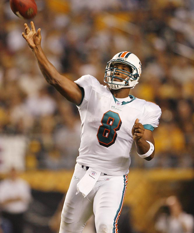 As of mid-May, the Dolphins hadn't completed a deal for veteran Trent Green. If nothing develops, they'll have to see if Daunte Culpepper will be close to full strength as the season approaches. They also have Cleo Lemon, but he only played in four games last year. Second-round pick John Beck is 26, so he could prove to be advanced for a rookie and earn a shot early in the season.