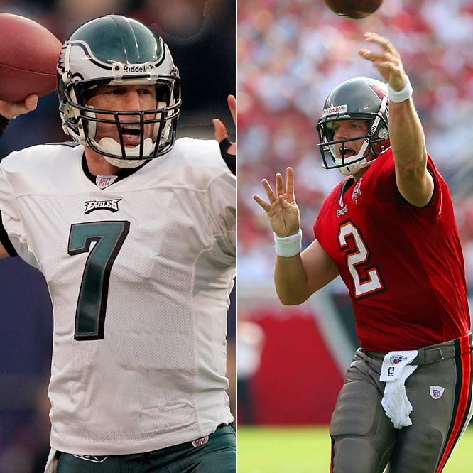 Newly acquired Jeff Garcia was excellent late in the season for Philadelphia, but that doesn't mean he'll win the preseason battle for the Bucs starting job. He'll be going up against Chris Simms, who looked like a future Pro Bowler in 2005, but is attempting to come back from a ruptured spleen. The Bucs also traded for Jake Plummer, but the former Bronco insists he is retired and won't play for Tampa Bay.