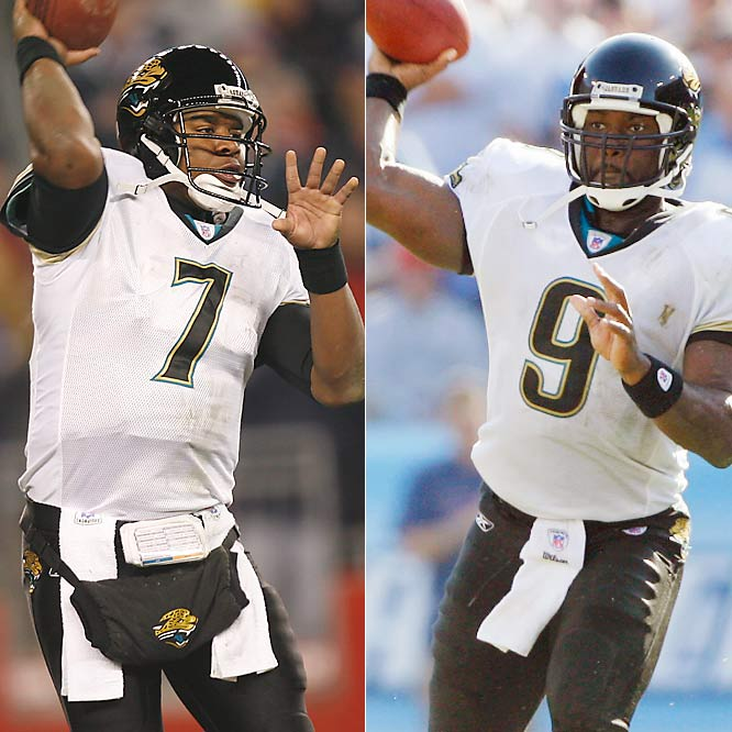 Byron Leftwich enters the final season of his contract and is coming off ankle surgery. His competition, David Garrard, took a step back last year, especially down the stretch when Jacksonville's season fell apart. The Jags didn't draft a quarterback, so they're willing to give either Leftwich or Garrard the chance to be the franchise quarterback.