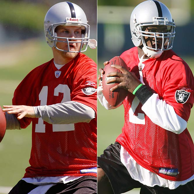 For the second season in a row, the Raiders will have a new starter under center. It'll either be rookie JaMarcus Russell, the No. 1 overall pick, or Josh McCown, whom Oakland got in exchange for a fourth-round. Given the status of Oakland's offensive line, this will be a precarious situation for whoever ends up starting.