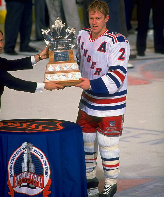 The top postseason scorer (34 points), Leetch became the first American-born player to win the Conn Smythe Trophy as Playoff MVP.