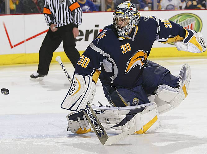 Sabres goalie Ryan Miller stopped 31 shots, including all 11 he faced in the final period, to help Buffalo take a 2-0 lead in the series.